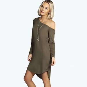 Boohoo army green one shoulder long sleeve dress